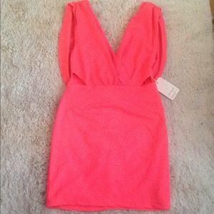 Bright neon pink orange drape cut out mini dress